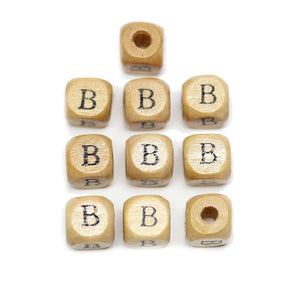 Natural Wood 10mm Cube Beads with Clear Lacquer & Black Printed Letter B