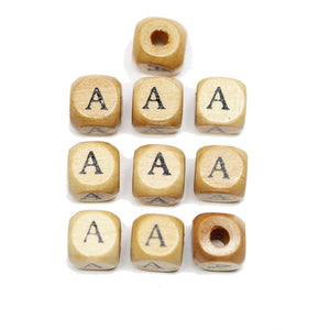 Natural Wood 10mm Cube Beads with Clear Lacquer & Black Printed Letter A