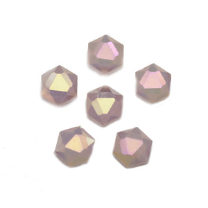 Pink Faceted Glass Hexagon 10mm Beads