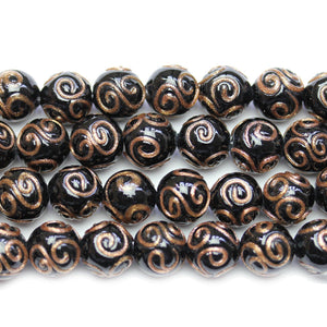 Black & Copper Glass Lampwork Round 11mm Beads