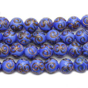 Blue & Copper Glass Lampwork Round 11mm Beads