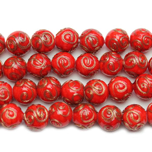 Red & Copper Glass Lampwork Round 11mm Beads