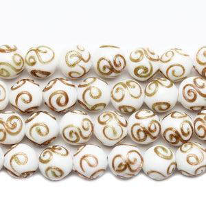 White & Copper Glass Lampwork Round 11mm Beads