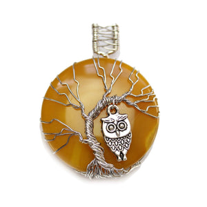 Green & Yellow Dyed Agate Stone Tree of Life Round 50mm PendantPendant by Halcraft Collection