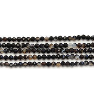 Black Dyed Agate Stone Faceted Round 3mm Beads