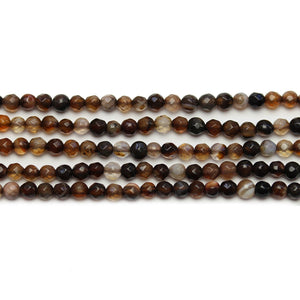 Amber Dyed Agate Stone Faceted Round 3mm Beads