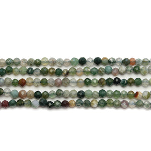 Indian Agate Stone Faceted Round 3mm Beads