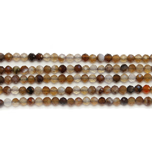 Botswana Agate Stone Faceted Round 3mm Beads