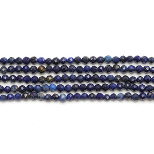 Reconstituted Lapis Stone Faceted Round 3mm Beads