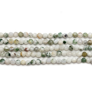 Moss Agate Stone Faceted Round 3mm Beads