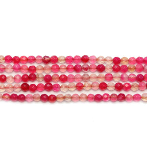 Pink Dyed Agate Stone Faceted Round 3mm Beads