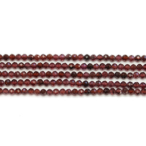 Garnet Stone Faceted Round 2.5mm Beads