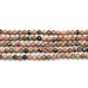 Brecciated Jasper Stone Faceted Round 3mm Beads