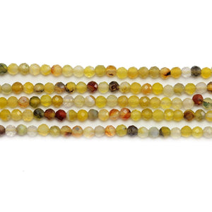 Yellow Dyed Stone Faceted Round 3mm Beads