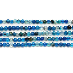 Blue Dyed Agate Stone Faceted Round 3mm Beads