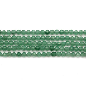 Green Aventurine Stone Faceted Round 3mm Beads
