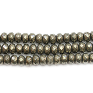 Pyrite Stone Faceted Rondell 5x8mm Beads