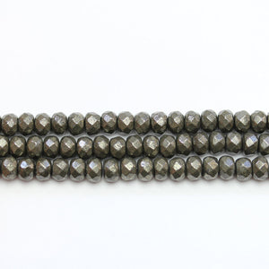 Pyrite Stone Faceted Rondell 4x6mm Beads