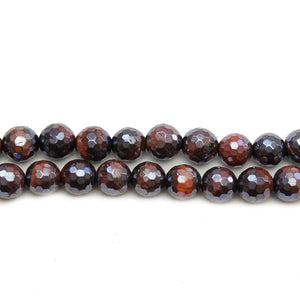 Red Tigereye Stone Faceted with Luster Round 8mm Beads