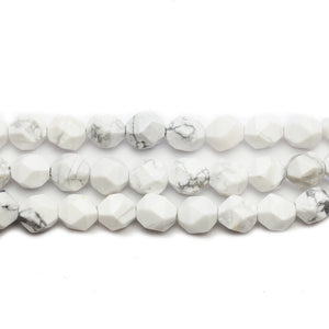 Howlite Stone Faceted Round 8mm Beads