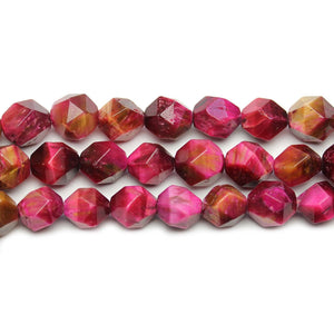 Pink Dyed Tigereye Stone Faceted Round 9mm BeadsBeads by Halcraft Collection