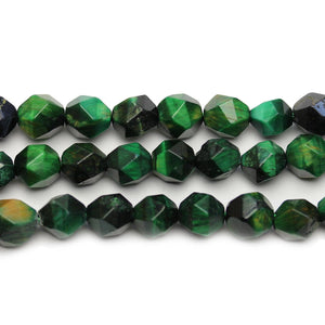Green Dyed Tigereye Stone Faceted Round 9mm Beads