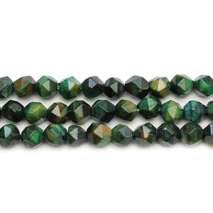 Green Dyed Tigereye Stone Faceted Round 8mm Beads