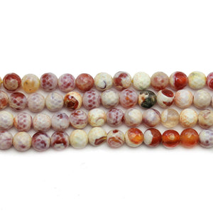 Multi Dyed Crackle Agate Stone Faceted Round 6mm Beads