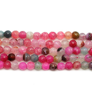 White Dyed Agate Stone Faceted Round 6mm Beads