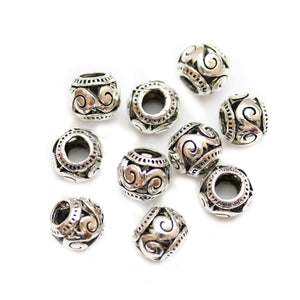Silver Plated Swirl Filigree Large Hole (4mm) Rondell 8x10mm Beads