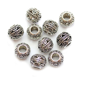 Silver Plated Arch Filigree Large Hole (4mm) Rondell 8x10mm Beads