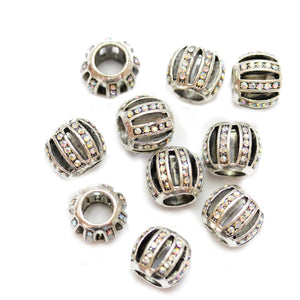 Rhinestone & Silver Plated Large Hole (4mm) Rondell 8x10mm Beads