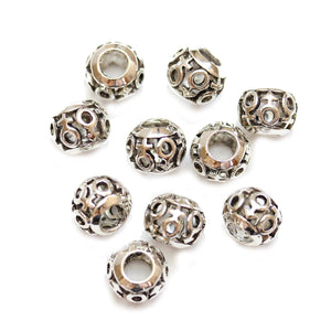 Silver Plated Circle Filigree Large Hole (4mm) Rondell 8x10mm Beads