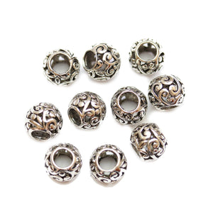 Silver Plated Vine Filigree Large Hole (4mm) Rondell 8x10mm Beads
