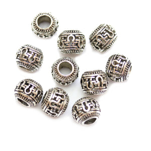 Silver Plated Lock Filigree Large Hole (4mm) Rondell 8x10mm Beads