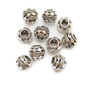 Silver Plated Round Filigree Large Hole (4mm) Rondell 8x10mm Beads