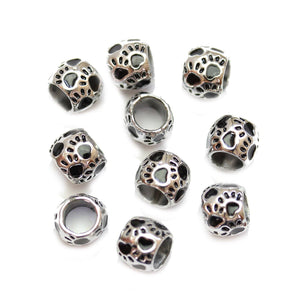 Silver Plated Enamel Paws Large Hole (4mm) Rondell 8x10mm Beads