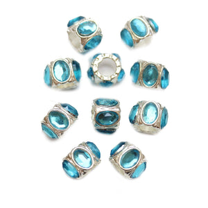 Aqua Acrylic on Silver Tone Metal Large Hole (3.5mm) Rondell 7x9mm Beads