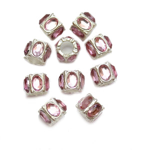 Pink Acrylic on Silver Tone Metal Large Hole (3.5mm) Rondell 7x9mm Beads