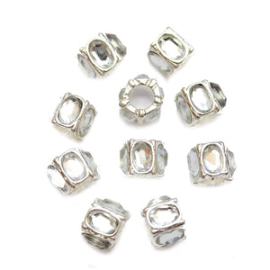 Crystal Acrylic on Silver Tone Metal Large Hole (3.5mm) Rondell 7x9mm Beads