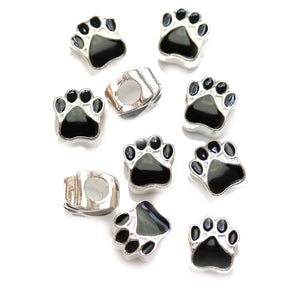 Black Enamel Metal Large Hole (3mm) Paw 10mm Beads