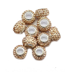 Peach Glass & Metal Rhinestone Micro Pave Large Hole (4.5mm) Rondell 7x10mm Beads