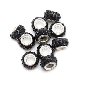 Black Glass & Metal Rhinestone Pave Large Hole (5mm) Rondell 7x10mm Beads