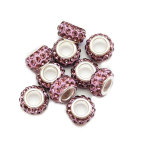 Lavender Glass & Metal Rhinestone Pave Large Hole (5mm) Rondell 7x10mm Beads