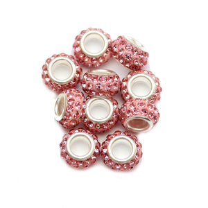 Pink Glass & Metal Rhinestone Pave Large Hole (5mm) Rondell 7x10mm Beads