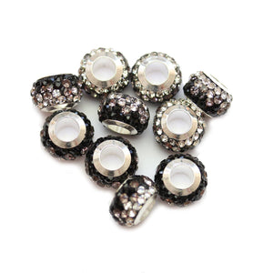 Black/Crystal Glass & Steel Rhinestone Micro Pave Large Hole (4mm) Rondell 7x10mm Beads
