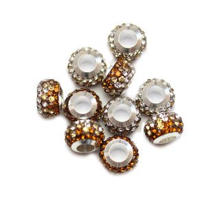 Topaz/Crystal Glass & Steel Rhinestone Micro Pave Large Hole (4mm) Rondell 7x10mm Beads