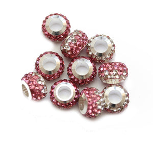 Pink/Crystal Glass & Steel Rhinestone Micro Pave Large Hole (4mm) Rondell 7x10mm Beads