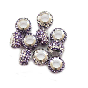 Lavender/Crystal Glass & Steel Rhinestone Micro Pave Large Hole (4mm) Rondell 7x10mm Beads