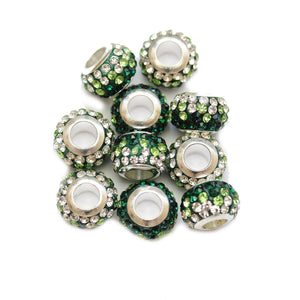 Green/Crystal Glass & Steel Rhinestone Micro Pave Large Hole (4mm) Rondell 7x10mm Beads
